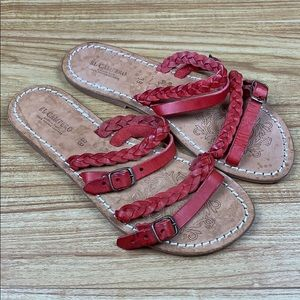 El Campero Red Braided Strap Leather Sandals 38/8